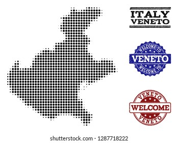 Welcome combination of halftone map of Veneto region and unclean watermarks. Halftone map of Veneto region designed with black round items.