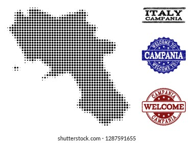 Welcome composition of halftone map of Campania region and grunge watermarks. Halftone map of Campania region designed with black circle items.