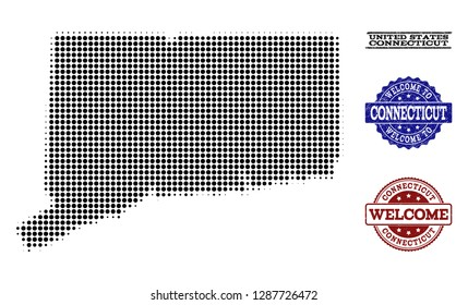 Welcome composition of halftone map of Connecticut State and grunge stamps. Halftone map of Connecticut State constructed with black round dots.