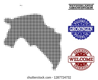 Welcome composition of halftone map of Groningen Province and rubber seal stamps. Halftone map of Groningen Province constructed with black circle points.