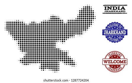 Welcome composition of halftone map of Jharkhand State and textured watermarks. Halftone map of Jharkhand State constructed with black spheric items.