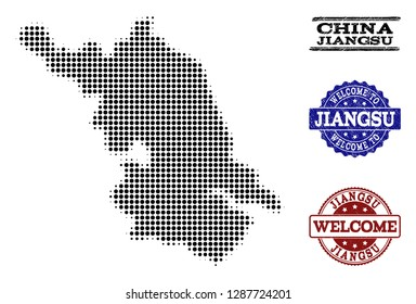Welcome composition of halftone Map of Jiangsu Province and rubber stamps. Halftone Map of Jiangsu Province designed with black round points.