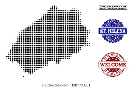 Welcome composition of halftone map of Saint Helena Island and scratched stamps. Halftone map of Saint Helena Island constructed with black round items.