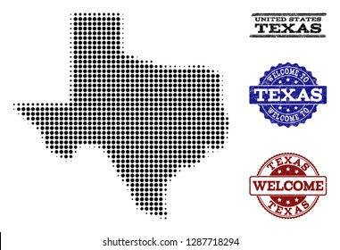 Welcome composition of halftone map of Texas State and rubber stamps. Halftone map of Texas State designed with black circle pixels.