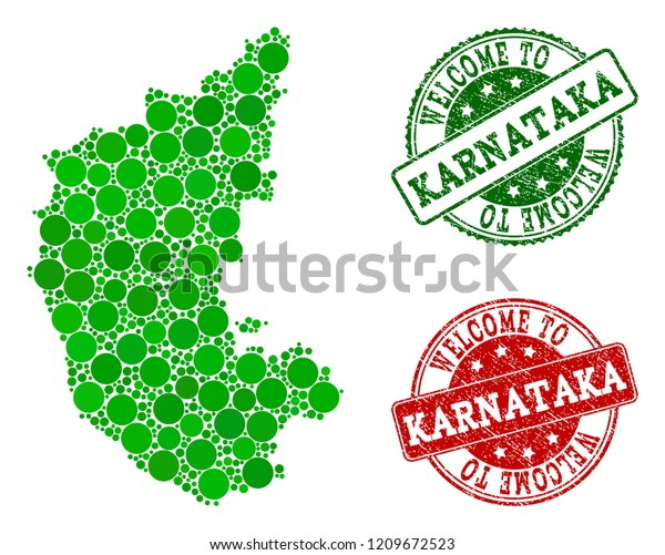 Welcome Composition Map Karnataka State Rubber Stock Vector (Royalty on