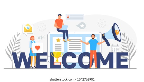 Welcome concept flat vector foe website. Happy tiny people are near huge text. Cartoon office teamwork and are greeting clients in online office, shop, co-working.