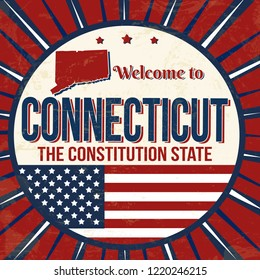 Welcome to Connecticut vintage grunge poster, vector illustrator