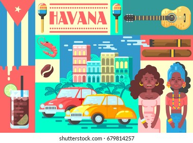 Welcome to Cuba Cute Travel Poster Concept. Vector Illustration with Cuban Culture in Trendy Style. Havana.