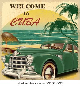 Welcome to Cuba retro poster.