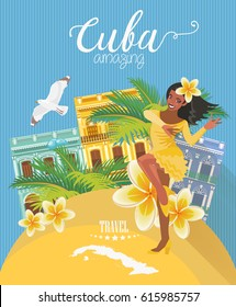 Welcome to Cuba  Travel poster concept. Vector illustration with Cuban culture in trendy style. Havana.