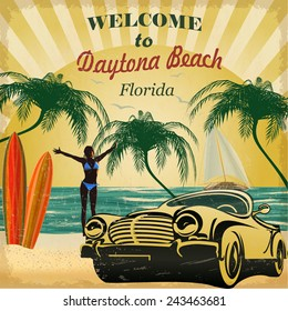 Welcome to Daytona Beach,Florida retro poster.