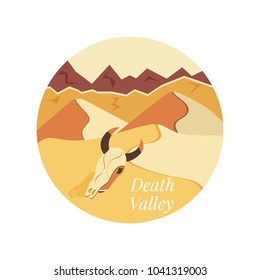 Welcome to Death Valley poster. Sand dunes, rock mountains and animal skull