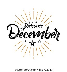 Welcome December - Firework - Vector for greeting, new month