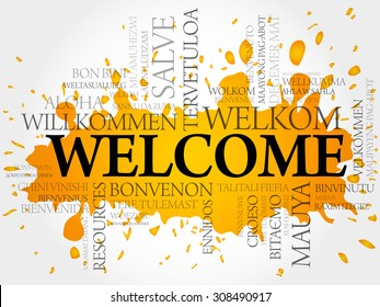 Welcome in different languages word cloud vector concept