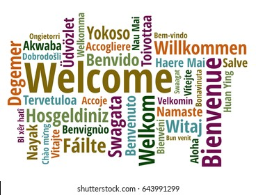 Welcome in different languages wordcloud on white background