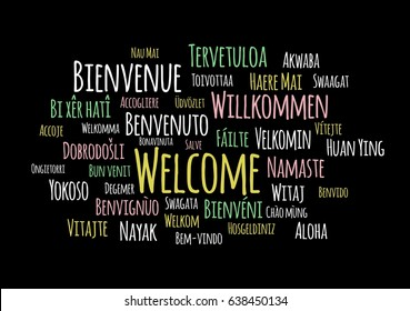 Welcome in different languages wordcloud vector on black background