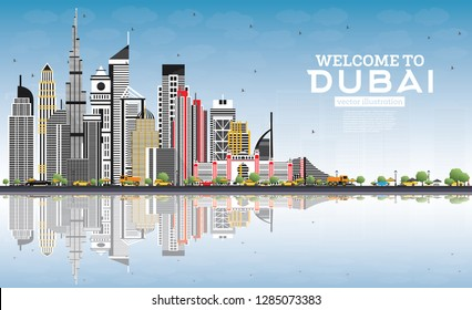 Welcome to Dubai UAE Skyline with Gray Buildings, Blue Sky and Reflections. Vector Illustration. Travel and Tourism Concept with Modern Architecture. Dubai Cityscape with Landmarks.