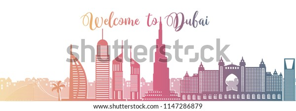 Welcome to Dubai with world famous landmarks, Dubai skyline buildings and architecture. Vector illustration.