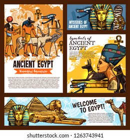 Welcome to Egypt, ancient Egyptian culture landmarks tours and historic adventure travel. Vector sketch Pharaoh mummy, Sphinx or Nefertiti and Cheops or Tutankhamen pyramids in Cairo