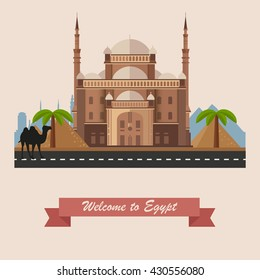 Welcome to Egypt. Historic sight showplace attraction. Vector Flat illustration with Cairo Citadel, Egyptian pyramids, camel, palm trees, city skyline. African resort, eps10.