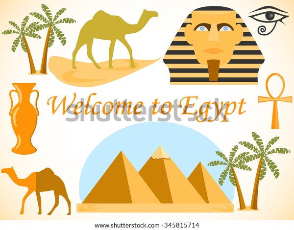 Welcome to Egypt. Symbols of Egypt. Tourism and adventure.