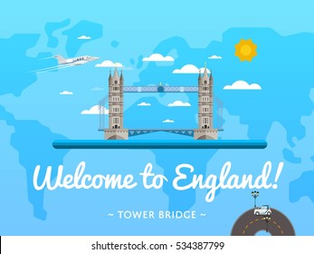 Welcome to England poster with famous attraction vector illustration. Travel design with Tower Bridge Thames river in London. World air tourism, traveling agency banner, Britain architectural landmark