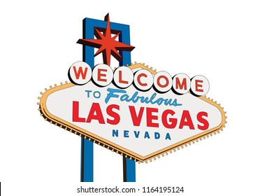 Welcome to Fabulous Las Vegas Nevada sign isolated on white vector illustration.