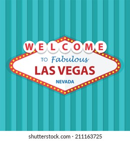 Welcome to Fabulous Las Vegas Nevada Sign On Curtains Background, VECTOR, EPS10