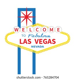 Welcome to fabulous Las Vegas sign icon. Classic retro symbol. Red star. Nevada sight showplace. Flat design. White background. Isolated. Vector illustration