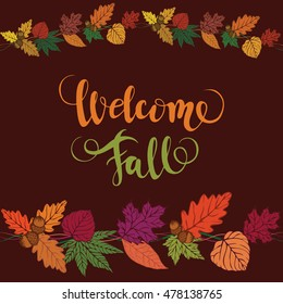 Welcome fall vector brush lettering vector stock vector hd royalty welcome fall vector brush lettering vector card design with custom calligraphy autumn m4hsunfo