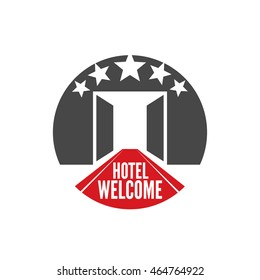 welcome to five star hotel circle shape emblem. open doors and red carpet. vector graphic art, retro vintage style badge design logo, illustration isolated on white background.