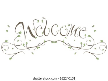 Welcome Floral Vines Lettering Illustration