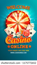 Welcome flyer for casino online with gambling design elements such as poker cards, playing dice, chips and fortune wheel. Invitation poster template on shiny background. Vector illustration.