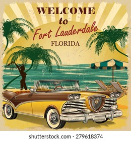 Welcome to Fort Lauderdale,Florida retro poster.