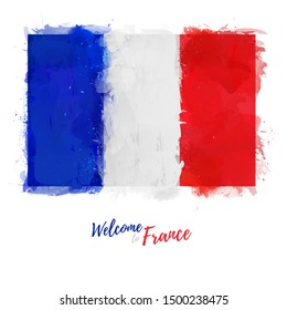 Welcome to France banner. National flag French Republic in watercolor style design. French symbol and print. Vector illustration.