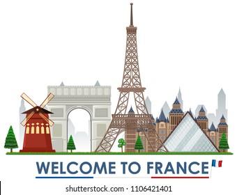 Welcome to france landmarks illustration