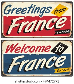 Greeting from france images stock photos vectors shutterstock welcome to france retro metal plate templates vintage souvenir or postcard concept on antique tin m4hsunfo