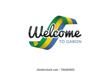Welcome to Gabon flag sign logo icon