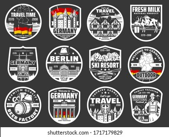 Welcome to Germany, travel agency city tours vector icons. Berlin landmarks and famous architecture, Oktoberfest beer festival, Bavarian ski resort and family vacation camping club