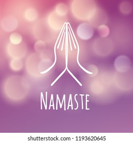 Welcome gesture of hands of Indian woman character in Namaste mudra on insulated white purple blurred batskground vector