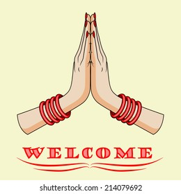 Namaste Hands Images Stock Photos Vectors Shutterstock Praying hand illustration, india namaste service web development business, namaste, angle, company png. https www shutterstock com image vector welcome gesture hands indian woman vector 214079692
