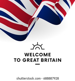 Welcome to Great Britain. Great Britain flag. Patriotic design. Vector illustration.