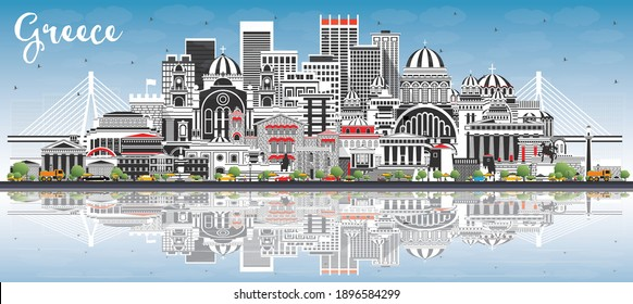 Welcome to Greece City Skyline with Gray Buildings, Blue Sky and Reflections. Vector Illustration. Historic Architecture. Greece Cityscape with Landmarks. Athens. Thessaloniki. Patras. Heraklion.