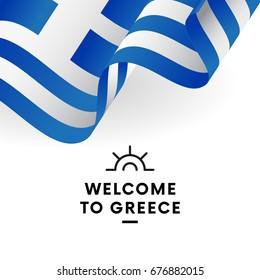 Welcome to Greece. Greece flag. Vector