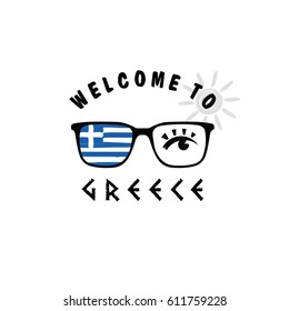 welcome to greece icon paradise on sunglasses art illustration