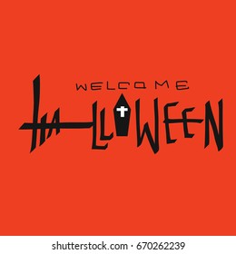 Welcome Halloween word vector illustration