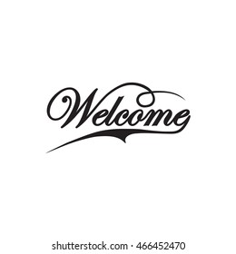 Welcome hand lettering, vector. Welcome hand lettering, vector. WELCOME hand lettering, handmade calligraphy. Vector hand lettering message.