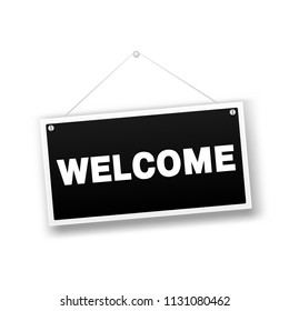 Welcome hanging sign isolated on white wall. Vector illustration