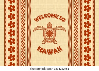 Welcome to Hawaii background in Polynesian style with turtle.