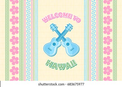 Welcome to Hawaii background in Polynesian style with ukuleles.